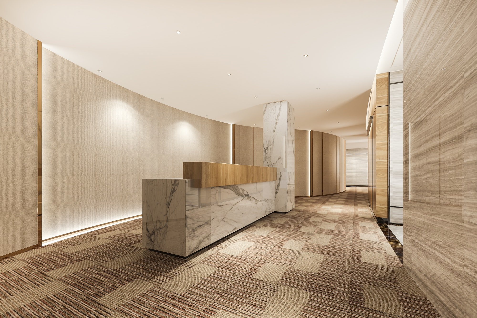 luxury hotel reception hall and wood asian style office with modern counter